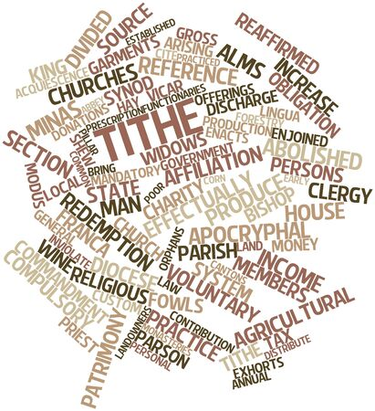 practiced: Abstract word cloud for Tithe with related tags and terms