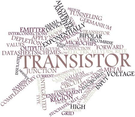 transistor: Nuage de mot abstrait pour Transistor avec des �tiquettes et des termes connexes Banque d'images
