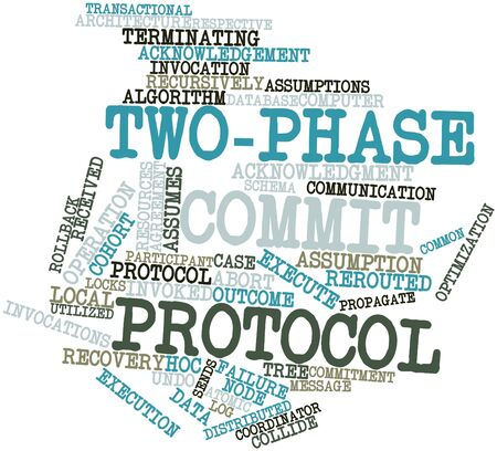 commit: Abstract word cloud for Two-phase commit protocol with related tags and terms