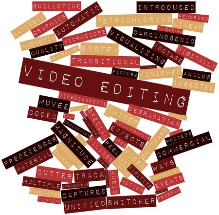 transitional: Abstract word cloud for Video editing with related tags and terms Stock Photo