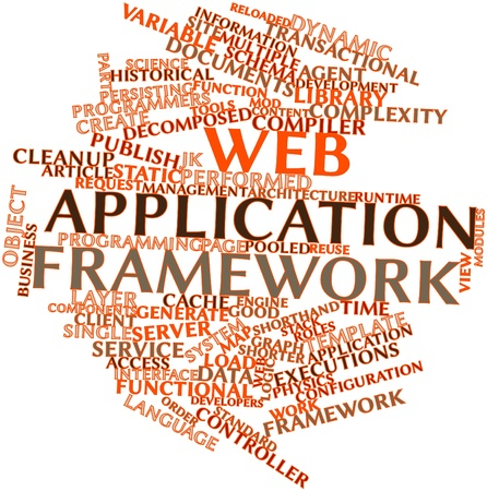 pooled: Abstract word cloud for Web application framework with related tags and terms Stock Photo