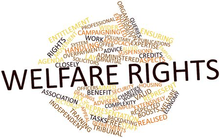 advocacy: Abstract word cloud for Welfare rights with related tags and terms