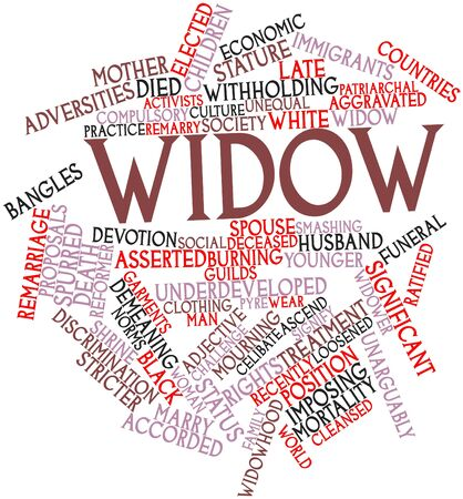 spurred: Abstract word cloud for Widow with related tags and terms Stock Photo