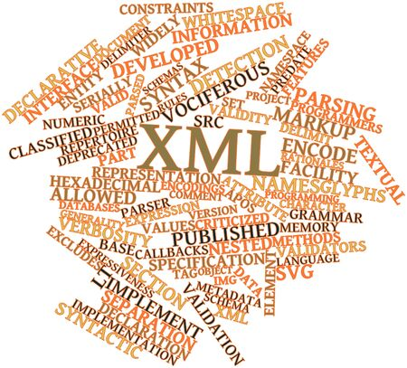 Abstract word cloud for XML with related tags and terms Stock Photo - 16578650