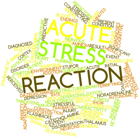 traumatic: Abstract word cloud for Acute stress reaction with related tags and terms