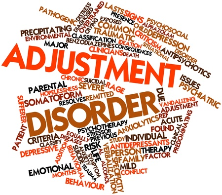 apoyo familiar: Nube palabra abstracta para el trastorno de ajuste con las etiquetas y términos relacionados