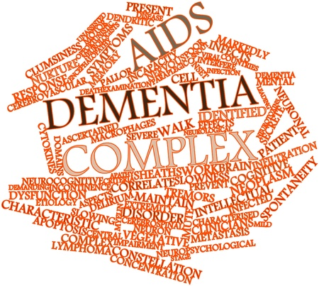 delirium: Abstract word cloud for AIDS dementia complex with related tags and terms