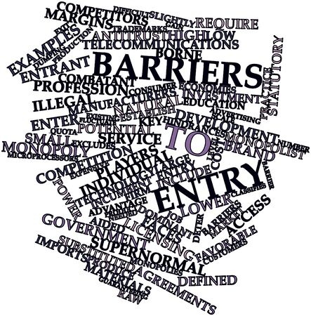 incumbent: Abstract word cloud for Barriers to entry with related tags and terms