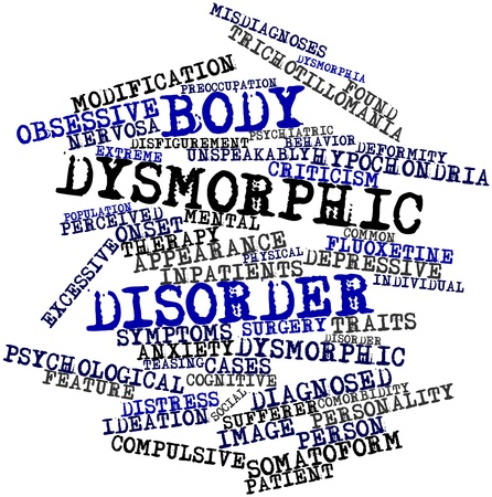 obsessive: Abstract word cloud for Body dysmorphic disorder with related tags and terms