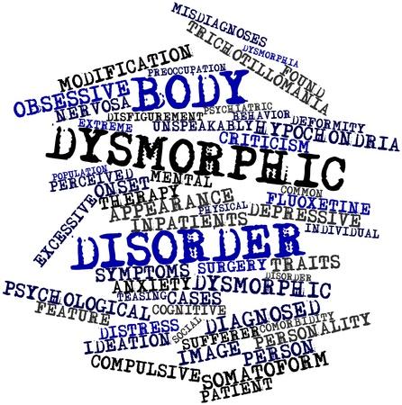 clinically: Word cloud astratto per disordine dismorfico del corpo con tag correlati e termini