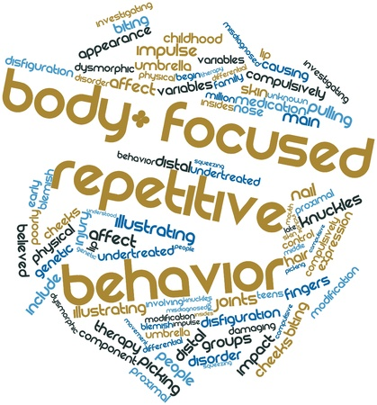 poorly: Abstract word cloud for Body-focused repetitive behavior with related tags and terms Stock Photo