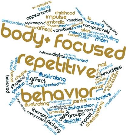 distal: Nube palabra abstracta para el cuerpo centrado comportamiento repetitivo con las etiquetas y términos relacionados