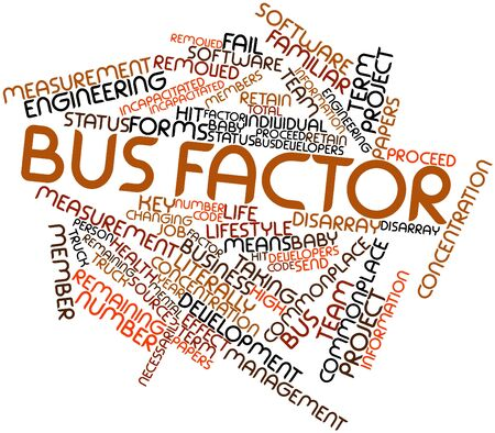 Abstract word cloud for Bus factor with related tags and terms Stock Photo - 16603186