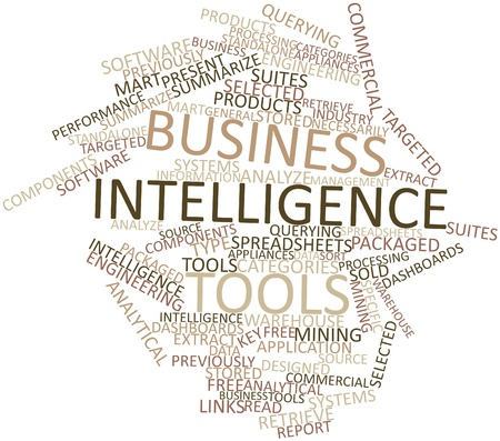 querying: Abstract word cloud for Business intelligence tools with related tags and terms