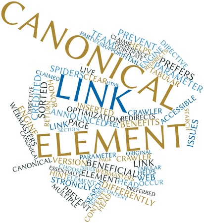 credited: Abstract word cloud for Canonical link element with related tags and terms Stock Photo