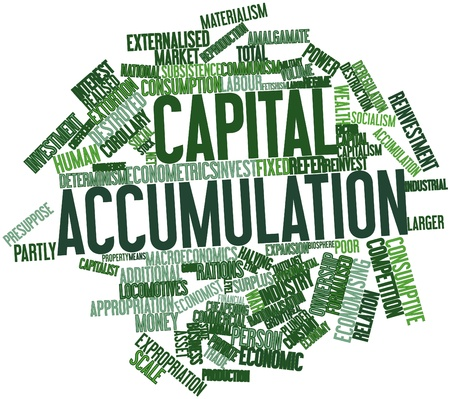 relaciones laborales: Nube de palabras abstracto para la acumulación de capital con las etiquetas y términos relacionados