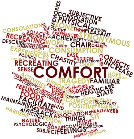 synonymous: Abstract word cloud for Comfort with related tags and terms Stock Photo