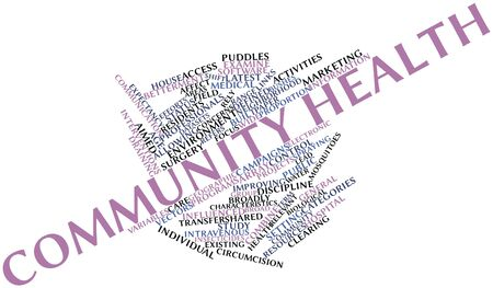 interventions: Abstract word cloud for Community health with related tags and terms