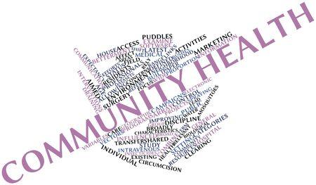 salud publica: Nube palabra abstracta para la salud de la comunidad con las etiquetas y términos relacionados