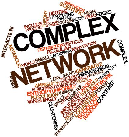 implicated: Abstract word cloud for Complex network with related tags and terms Stock Photo