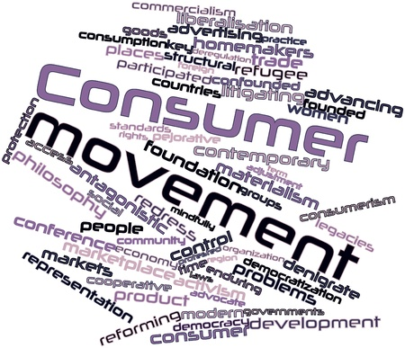 refer: Abstract word cloud for Consumer movement with related tags and terms Stock Photo