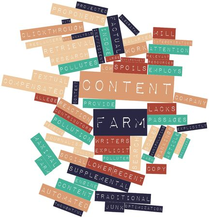 lacks: Abstract word cloud for Content farm with related tags and terms Stock Photo