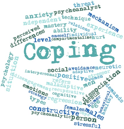 undemanding: Abstract word cloud for Coping with related tags and terms Stock Photo