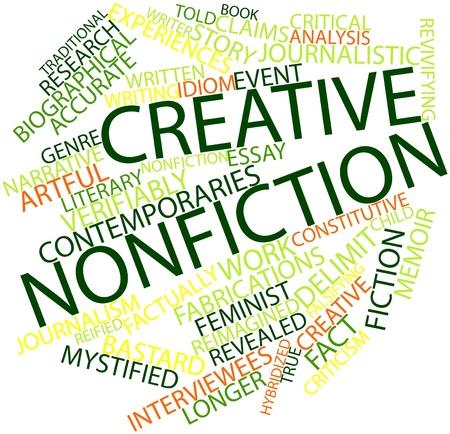 Abstract woordwolk voor creatieve non-fictie met gerelateerde tags en voorwaarden
