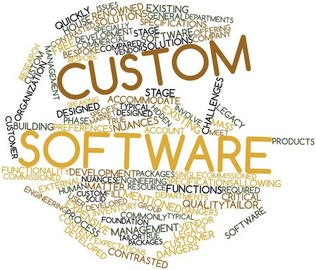 custom house: Abstract word cloud for Custom software with related tags and terms