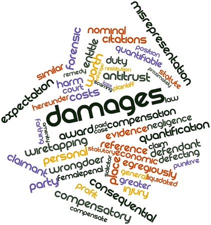 evidence: Abstract word cloud for Damages with related tags and terms