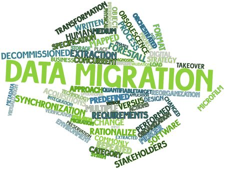 Abstract word cloud for Data migration with related tags and terms Stock Photo - 16602444
