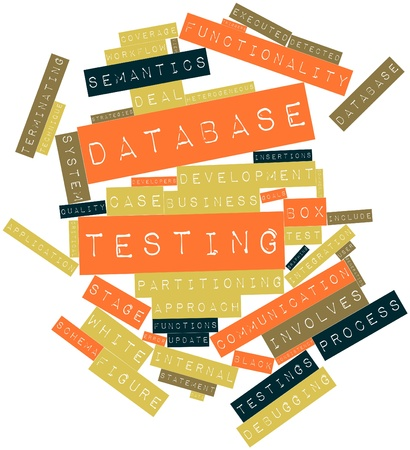 terminating: Abstract word cloud for Database testing with related tags and terms