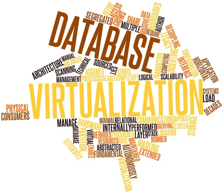 virtualizacion: Nube palabra abstracta para la virtualizaci�n de base de datos con etiquetas y t�rminos relacionados