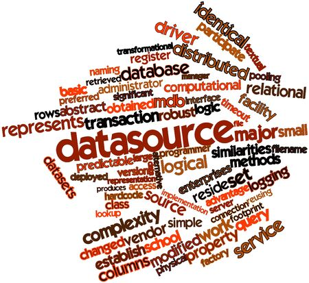 deployed: Abstract word cloud for Datasource with related tags and terms Stock Photo