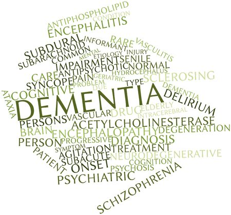 encephalopathy: Abstract word cloud for Dementia with related tags and terms Stock Photo
