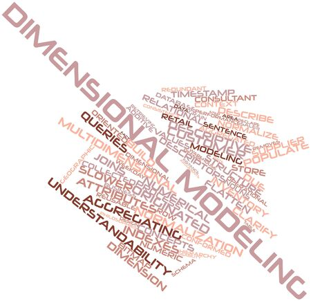 Abstract word cloud for Dimensional modeling with related tags and terms Stock Photo