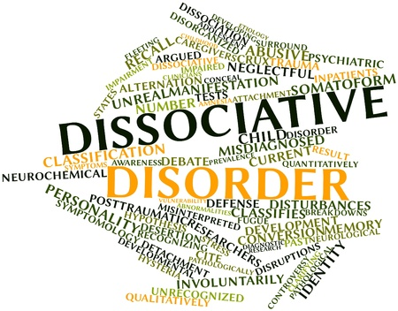 dissociation: Abstract word cloud for Dissociative disorder with related tags and terms Stock Photo