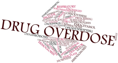 ingestion: Abstract word cloud for Drug overdose with related tags and terms Stock Photo