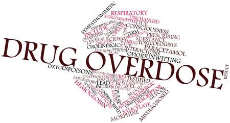 sobredosis: Nube palabra abstracta por sobredosis de medicamentos con etiquetas y t�rminos relacionados Foto de archivo