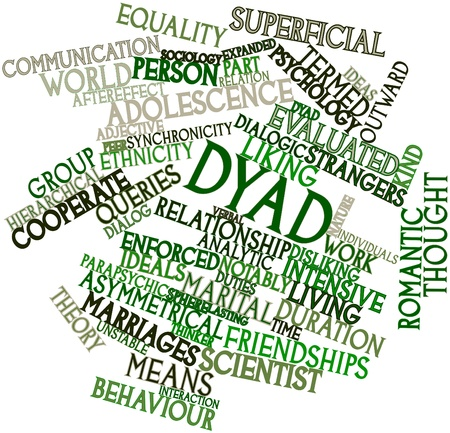 strangers: Abstract word cloud for Dyad with related tags and terms Stock Photo