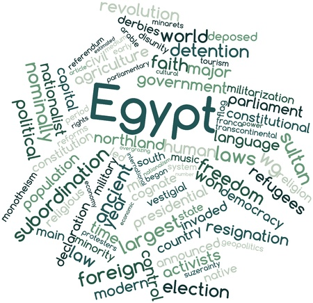 monotheism: Abstract word cloud for Egypt with related tags and terms Stock Photo
