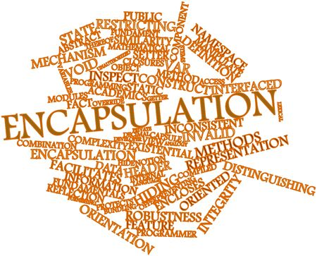 override: Abstract word cloud for Encapsulation with related tags and terms Stock Photo
