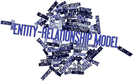 correspond: Abstract word cloud for Entity-relationship model with related tags and terms Stock Photo