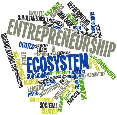 Abstract word cloud for Entrepreneurship ecosystem with related tags and terms photo