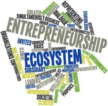 Nuage de mot abstrait pour l'écosystème de l'entrepreneuriat avec des étiquettes et des termes connexes