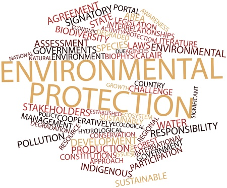 enforcement: Abstract word cloud for Environmental protection with related tags and terms