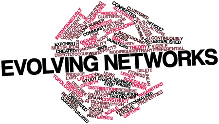analogy: Abstract word cloud for Evolving networks with related tags and terms