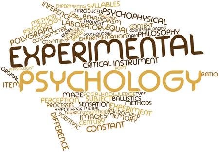 hipotesis: Nube palabra abstracta para la psicología experimental con etiquetas y términos relacionados Foto de archivo