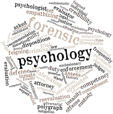testify: Abstract word cloud for Forensic psychology with related tags and terms Stock Photo