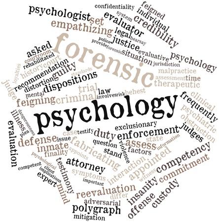 psicologia: Nube palabra abstracta para la psicología forense con las etiquetas y términos relacionados Foto de archivo